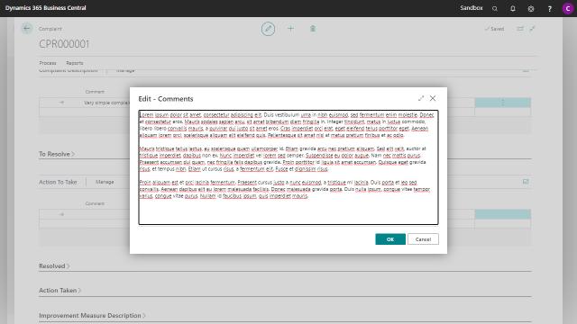 App Complaint Registration - Edit Comments